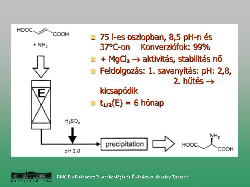 75 l-es oszlopban, 8,5 pH-n és 37°C-onKonverziófok: 99% 75 l-es oszlopban, 8,5 pH-n és 37°C-onKonverziófok: 99% + MgCl 2  aktivitás, stabilitás nő +