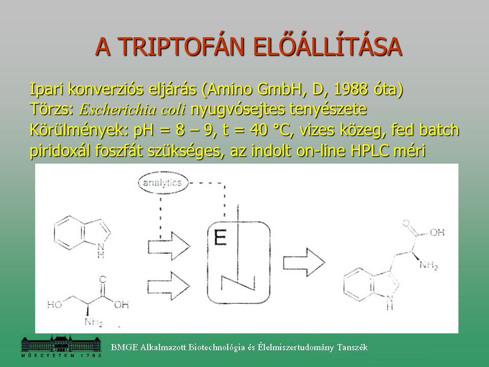 A TRIPTOFÁN ELŐÁLLÍTÁSA A TRIPTOFÁN ELŐÁLLÍTÁSA Ipari konverziós eljárás (Amino GmbH, D, 1988 óta) Törzs: Escherichia coli nyugvósejtes tenyészete Kör