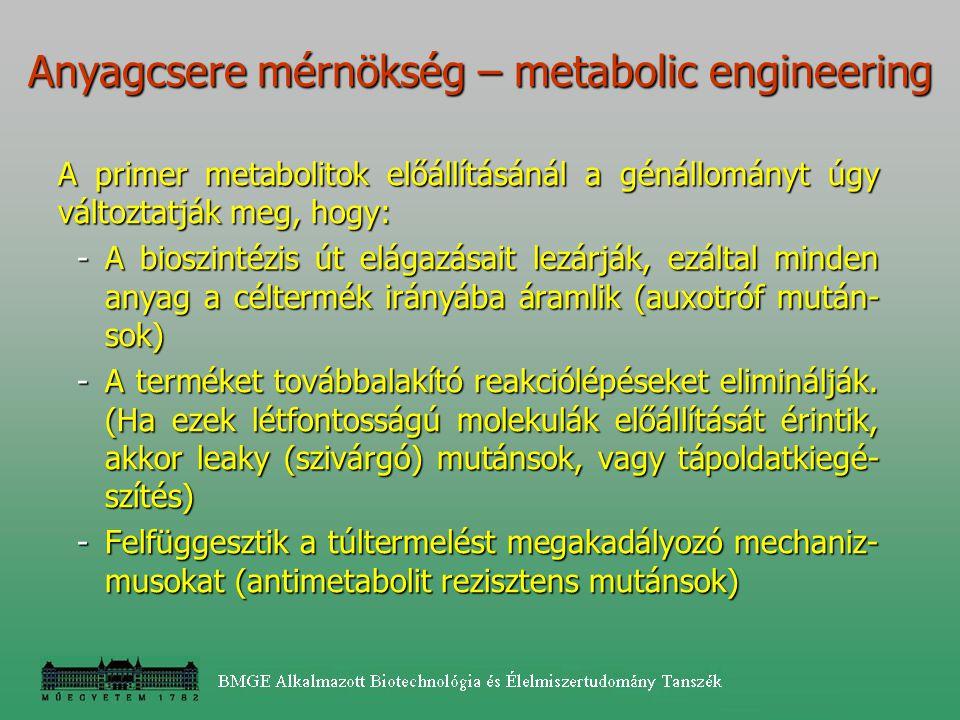 Anyagcsere mérnökség – metabolic engineering A primer metabolitok előállításánál a génállományt úgy változtatják meg, hogy: -A bioszintézis út elágazá