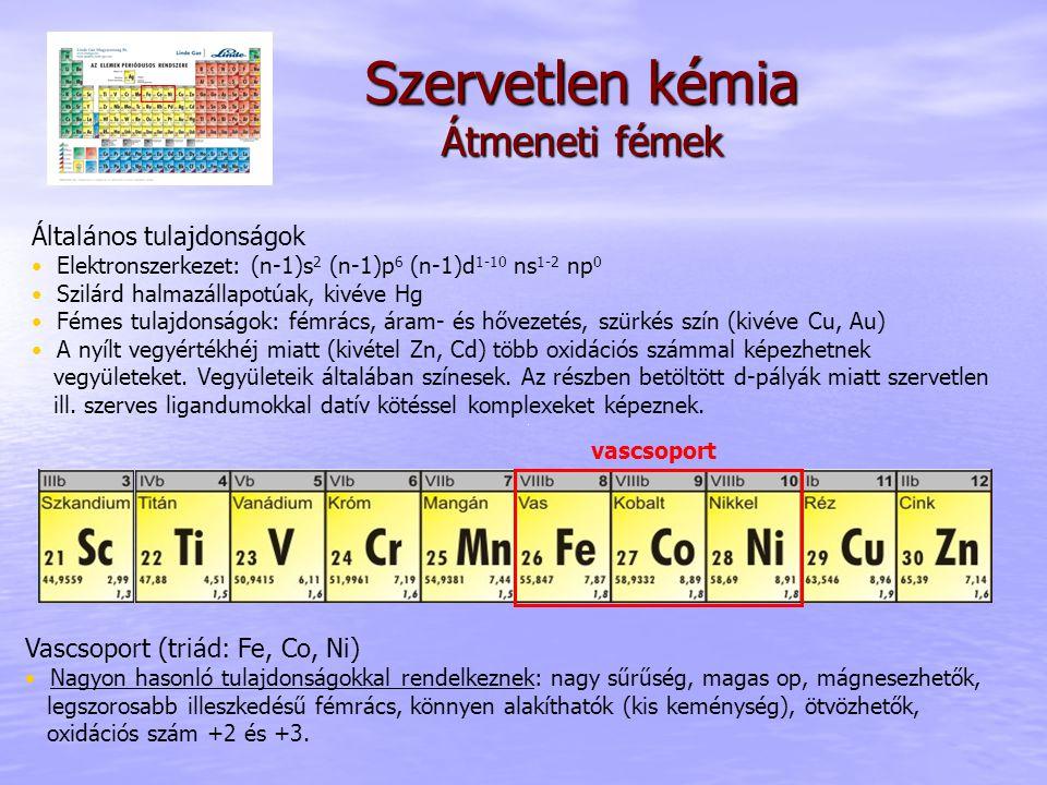 Szervetlen kémia Átmeneti fémek Vascsoport (triád: Fe, Co, Ni) Nagyon hasonló tulajdonságokkal rendelkeznek: nagy sűrűség, magas op, mágnesezhetők, le