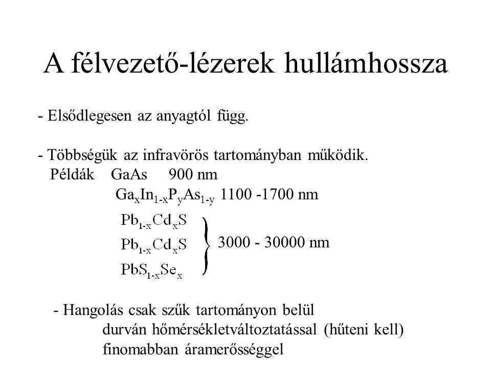A félvezető-lézerek hullámhossza - Elsődlegesen az anyagtól függ. - Többségük az infravörös tartományban működik. Példák GaAs 900 nm Ga x In 1-x P y A