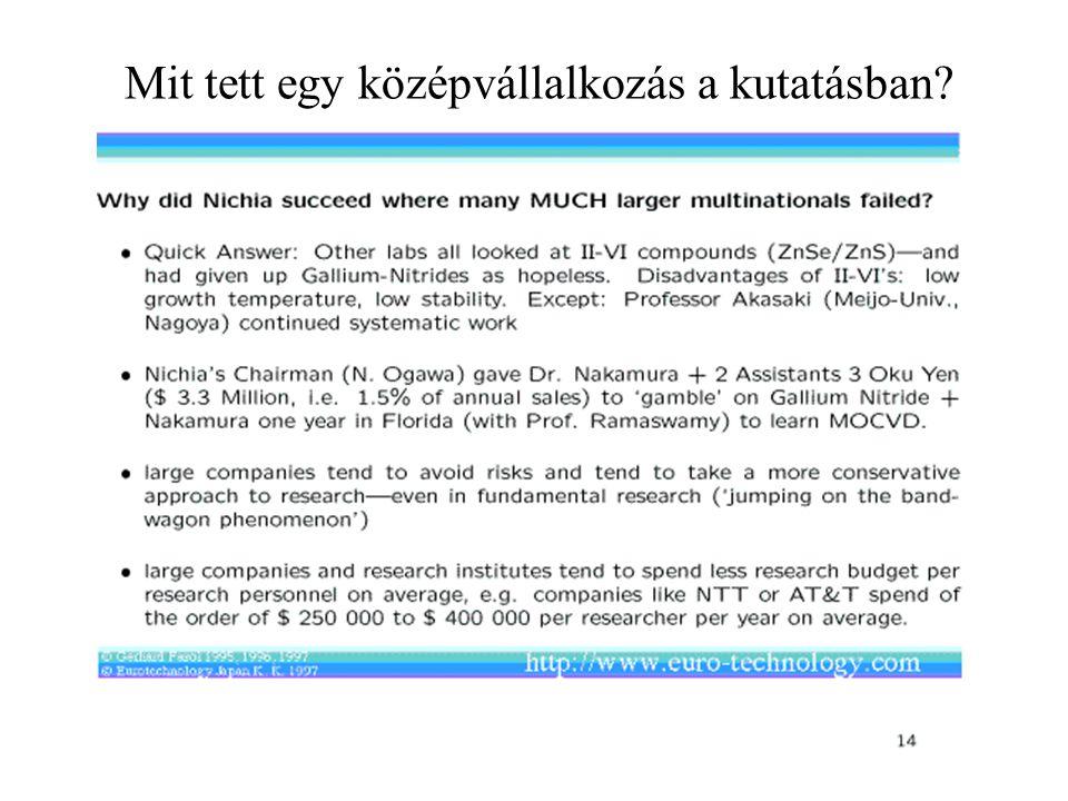 Mit tett egy középvállalkozás a kutatásban?