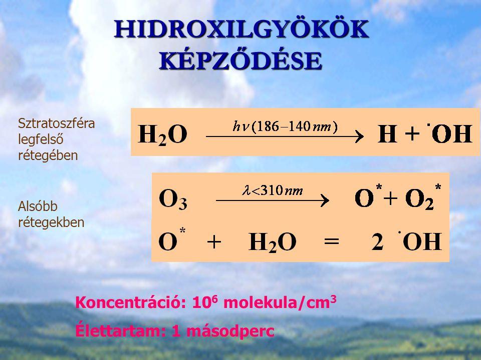 HIDROXILGYÖKÖK KÉPZŐDÉSE Sztratoszféra legfelső rétegében Alsóbb rétegekben Koncentráció: 10 6 molekula/cm 3 Élettartam: 1 másodperc