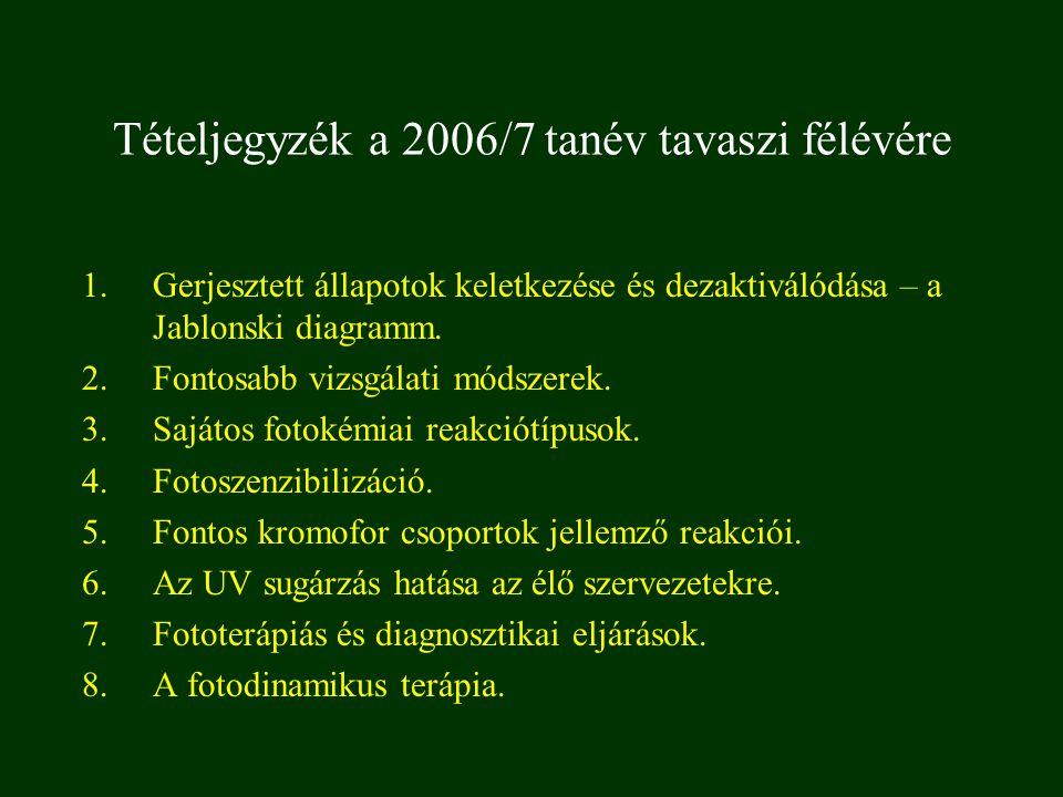 Tételjegyzék a 2006/7 tanév tavaszi félévére 1.Gerjesztett állapotok keletkezése és dezaktiválódása – a Jablonski diagramm. 2.Fontosabb vizsgálati mód