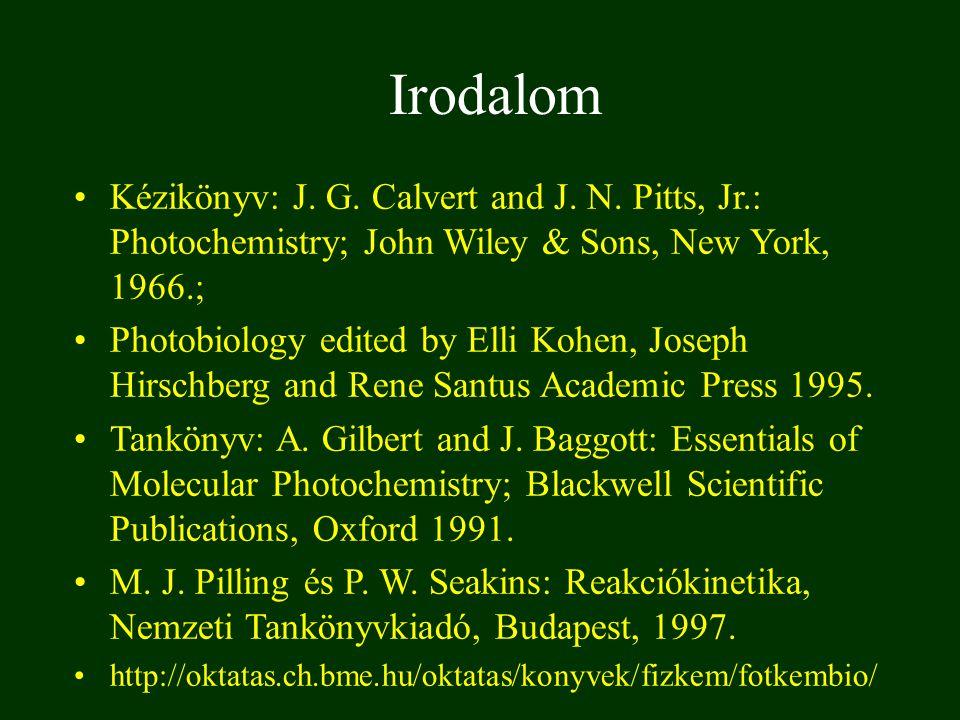 Irodalom Kézikönyv: J. G. Calvert and J. N. Pitts, Jr.: Photochemistry; John Wiley & Sons, New York, 1966.; Photobiology edited by Elli Kohen, Joseph