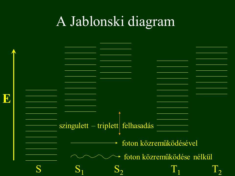 A Jablonski diagram E SS1S1 S2S2 T1T1 T2T2 foton közreműködésével foton közreműködése nélkül szingulett – triplett felhasadás