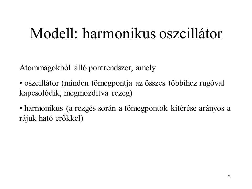 Modell: harmonikus oszcillátor Atommagokból álló pontrendszer, amely oszcillátor (minden tömegpontja az összes többihez rugóval kapcsolódik, megmozdítva rezeg) harmonikus (a rezgés során a tömegpontok kitérése arányos a rájuk ható erőkkel) 2