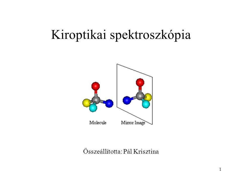 2 Bevezető A kiroptikai spektroszkópiák jelentősége abban áll, hogy segítségükkel különbséget tehetünk enantiomerek között, vagy diasztereomerek közt.