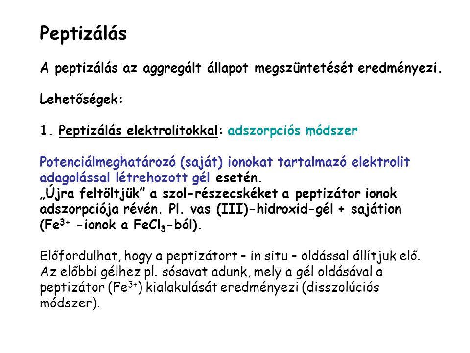 Peptizálás A peptizálás az aggregált állapot megszüntetését eredményezi. Lehetőségek: 1. Peptizálás elektrolitokkal: adszorpciós módszer Potenciálmegh