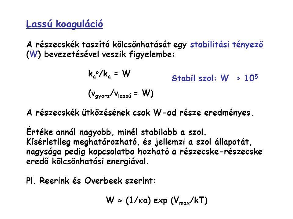 Lassú koaguláció A részecskék taszító kölcsönhatását egy stabilitási tényező (W) bevezetésével veszik figyelembe: k a o /k a = W (v gyors /v lassú = W