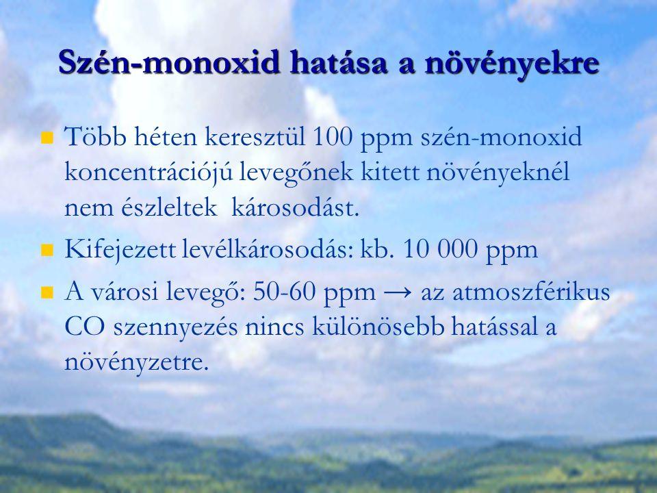 Szén-monoxid hatása a növényekre Több héten keresztül 100 ppm szén-monoxid koncentrációjú levegőnek kitett növényeknél nem észleltek károsodást. Kifej