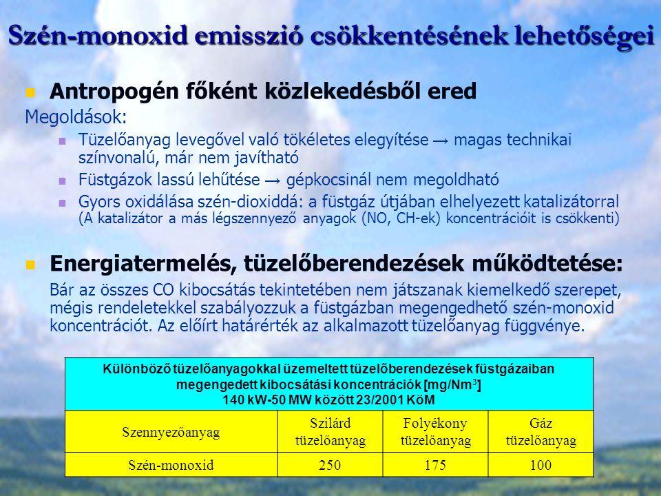 Szén-monoxid emisszió csökkentésének lehetőségei Antropogén főként közlekedésből ered Megoldások: Tüzelőanyag levegővel való tökéletes elegyítése → ma