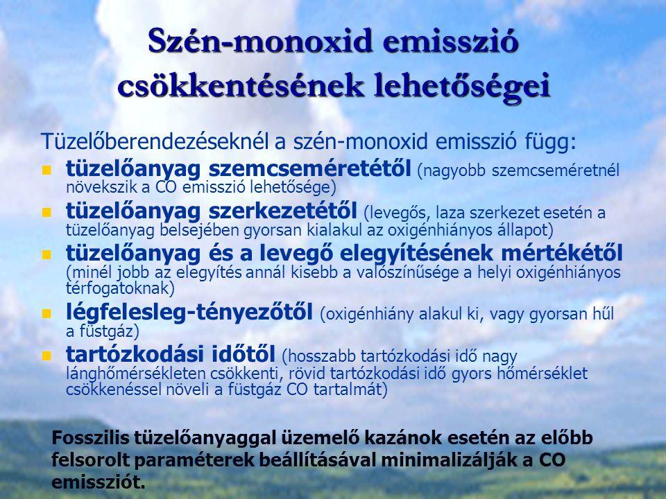 Szén-monoxid emisszió csökkentésének lehetőségei Tüzelőberendezéseknél a szén-monoxid emisszió függ: tüzelőanyag szemcseméretétől (nagyobb szemcsemére