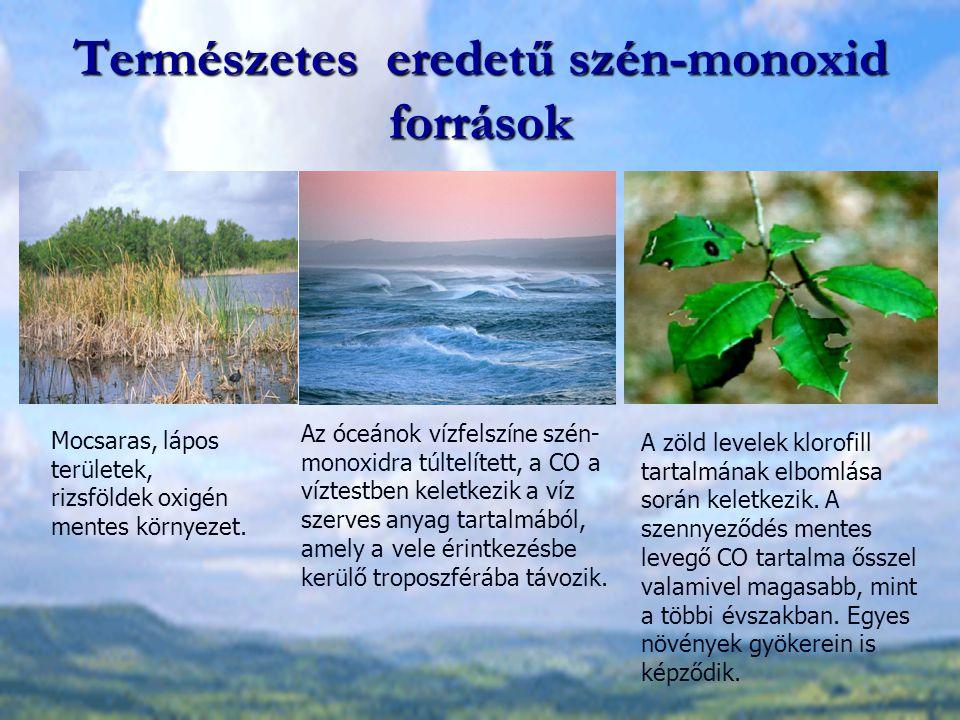 Természetes eredetű szén-monoxid források Mocsaras, lápos területek, rizsföldek oxigén mentes környezet. Az óceánok vízfelszíne szén- monoxidra túltel