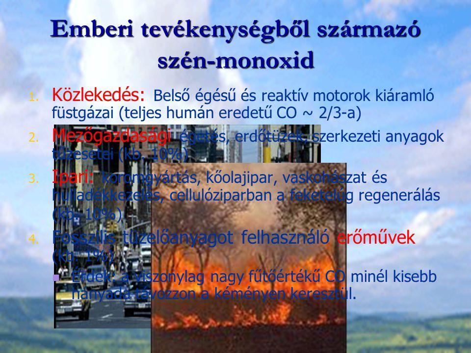 Emberi tevékenységből származó szén-monoxid 1. Közlekedés: Belső égésű és reaktív motorok kiáramló füstgázai (teljes humán eredetű CO ~ 2/3-a) 2. Mező