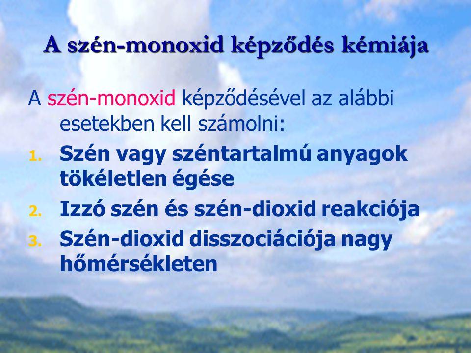 A szén-monoxid képződés kémiája A szén-monoxid képződésével az alábbi esetekben kell számolni: 1. Szén vagy széntartalmú anyagok tökéletlen égése 2. I