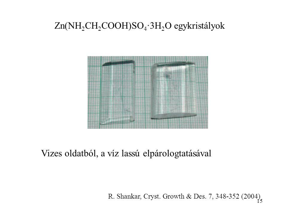 Zn(NH 2 CH 2 COOH)SO 4 ∙3H 2 O egykristályok Vizes oldatból, a víz lassú elpárologtatásával R.