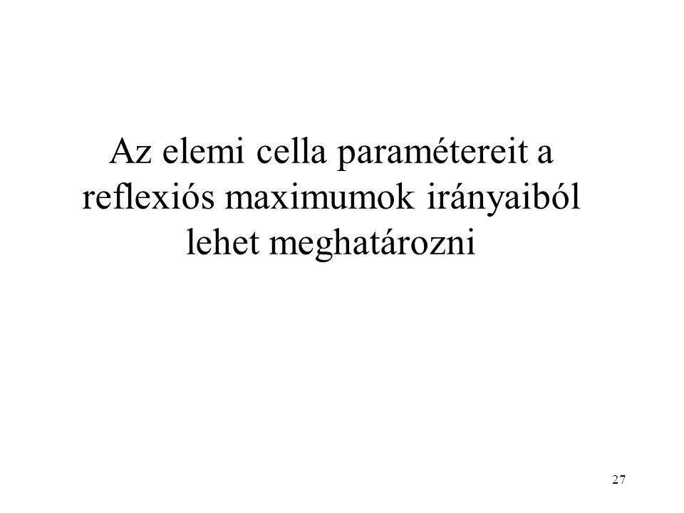 Az elemi cella paramétereit a reflexiós maximumok irányaiból lehet meghatározni 27