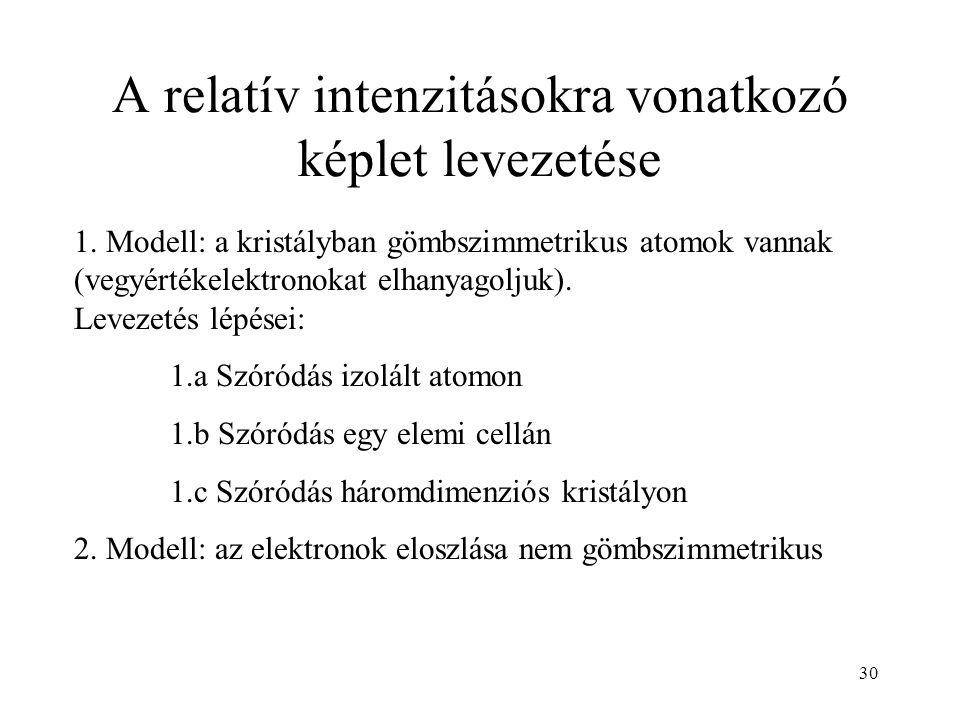 A relatív intenzitásokra vonatkozó képlet levezetése 1.