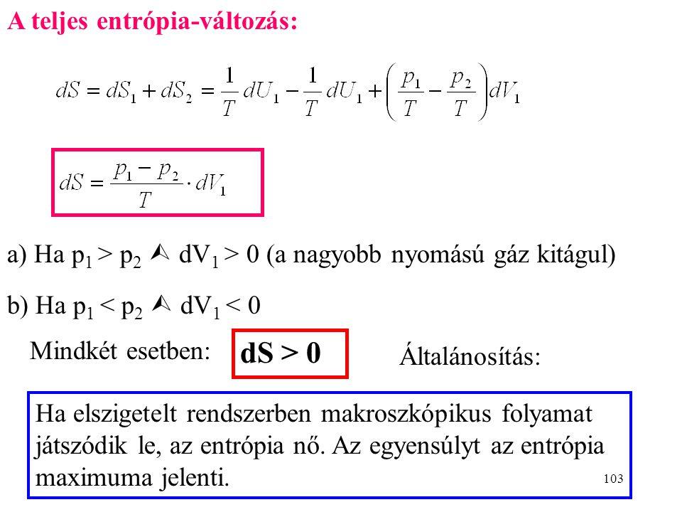 102 2. Kezdetben termikus egyen- súly (T 2 =T 1 ), de nincs me- chanikai egyensúly (p 2  p 1 ). Tökéletes gáz. szigetelés U 1 T p 1 V 1 S 1 U 2 T p 2