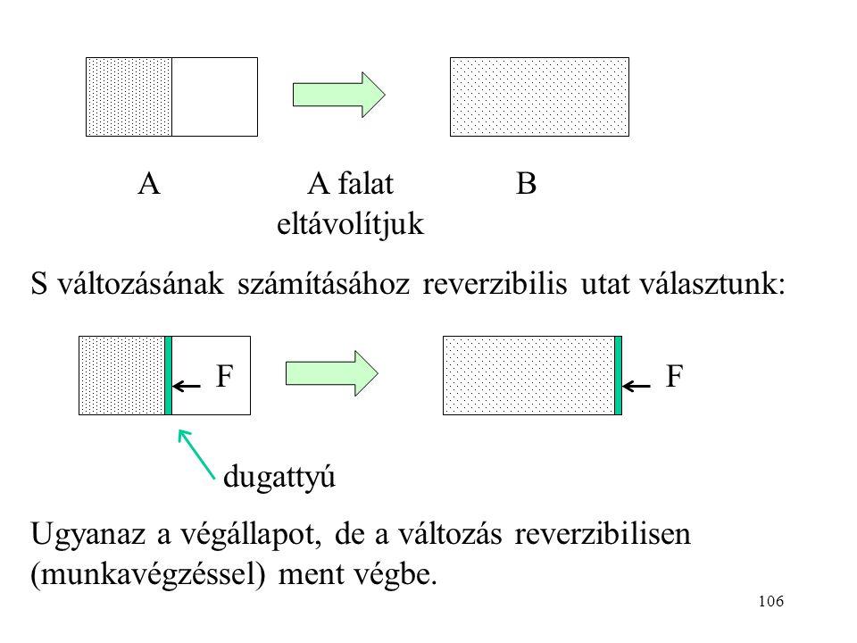 105 Az entrópia statisztikus értelmezése S a rendezetlenség mértéke S változása mindig hőközléssel kapcsolatos ? Ellenpélda: tökéletes gáz kiterjedése