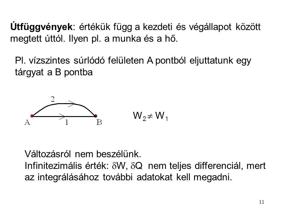 10 Az állapotfüggvény az állapothatározók olyan többváltozós egyértékű függvénye, amelynek változása csak a kezdeti és végállapottól függ. Független a