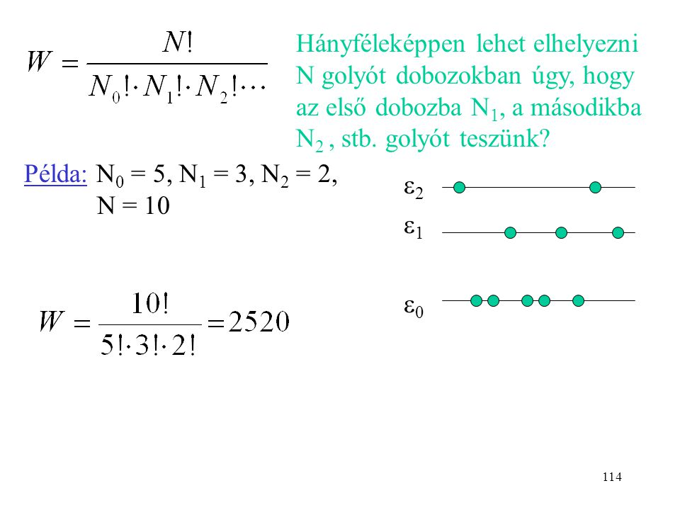 113 Ha 2 molekula kerül az  1 szintre, ez N(N-1)/2-féle- képpen valósulhat meg. Ha T nő, egyre több molekula kerül magasabb energiaszintre  W nő  S
