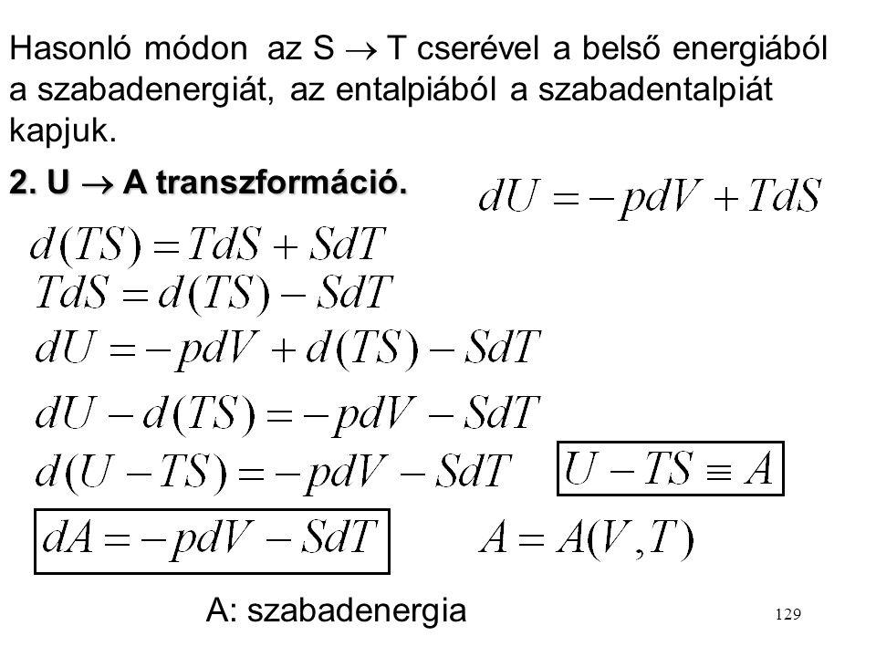 128 1. U  H transzformáció: Képezzük a belső energia olyan transzformált függvényét, amelyben az egyik változó V helyett p. Definiáltuk tehát az enta