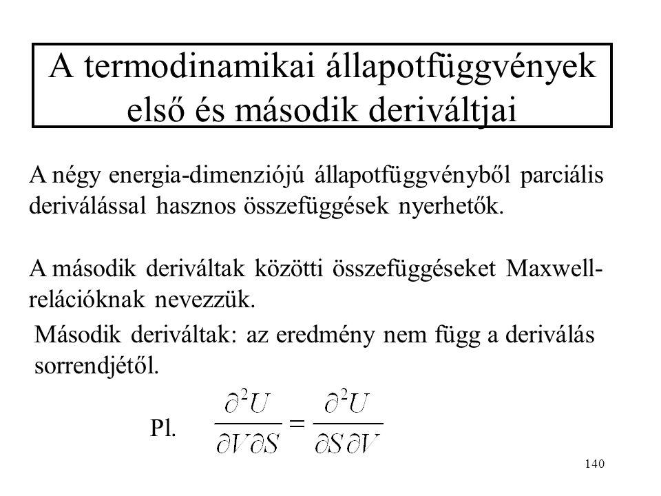 139 Állandó hőmérsékleten és nyomáson (reverzibilis folyamatban), ha nincs egyéb munka: dG p,T = 0 Ha lehet egyéb (nemtérfogati) munka is: dU =  W eg