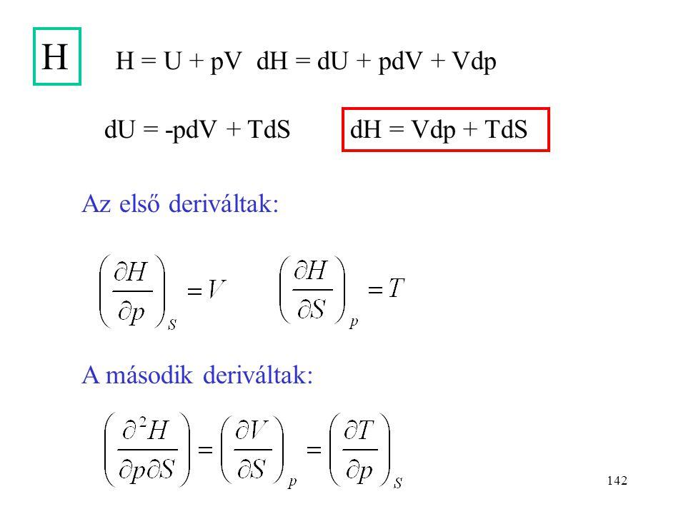 141 U dU = -pdV + TdS A második deriváltak: Az első deriváltak: