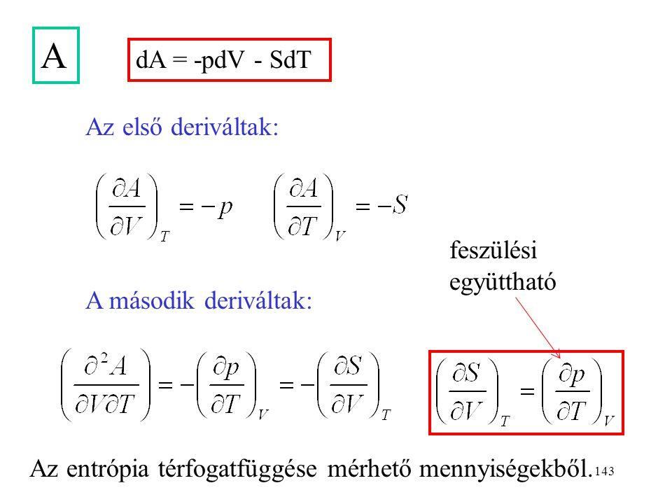142 H dU = -pdV + TdS A második deriváltak: Az első deriváltak: H = U + pV dH = dU + pdV + Vdp dH = Vdp + TdS