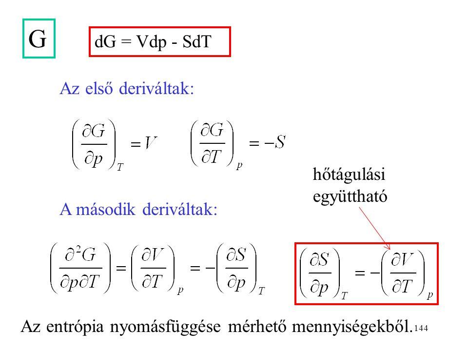 143 A dA = -pdV - SdT A második deriváltak: Az első deriváltak: Az entrópia térfogatfüggése mérhető mennyiségekből. feszülési együttható