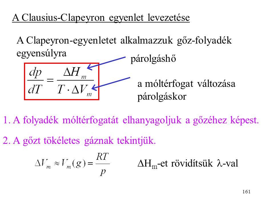 160 Ha a gőznyomás logaritmusát ábrázoljuk az abszolút hőmérséklet reciprokának a függvényében, akkor egyenest kapunk: 1/T lg{p}  A, B: konstansok tg