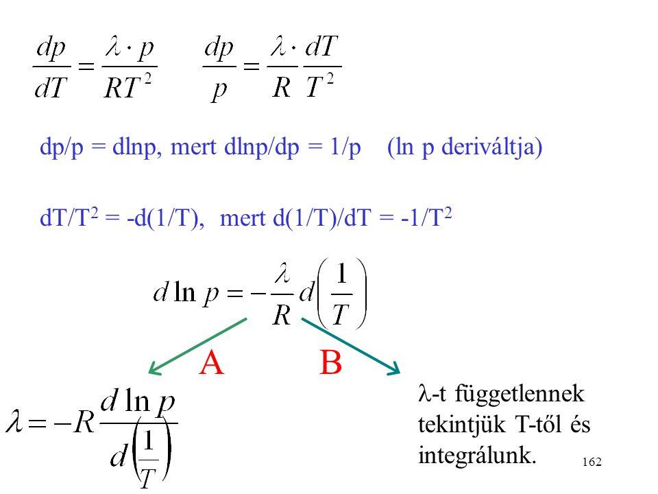 161 A Clausius-Clapeyron egyenlet levezetése A Clapeyron-egyenletet alkalmazzuk gőz-folyadék egyensúlyra a móltérfogat változása párolgáskor párolgásh