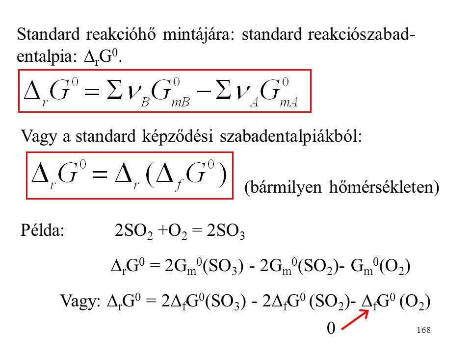 167 A szabadentalpiára már nem alkalmazunk az entalpiához hasonló konvenciót, hanem H-ból és S-ből számítjuk. A standard moláris szabadentalpia: Így a