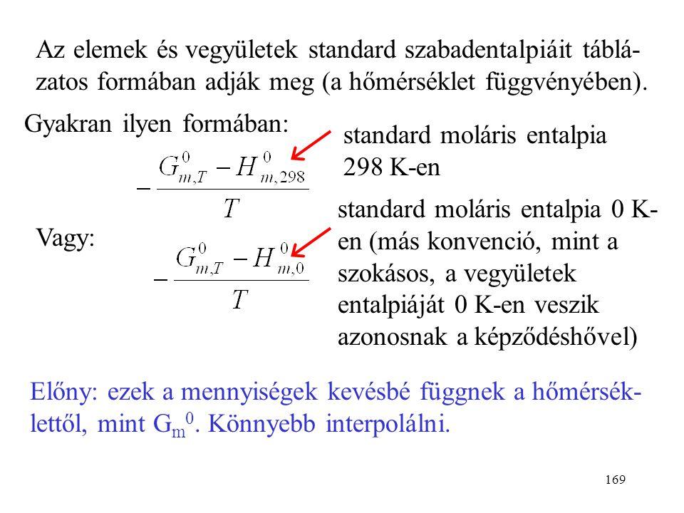 168 Standard reakcióhő mintájára: standard reakciószabad- entalpia:  r G 0. Vagy a standard képződési szabadentalpiákból: (bármilyen hőmérsékleten) P
