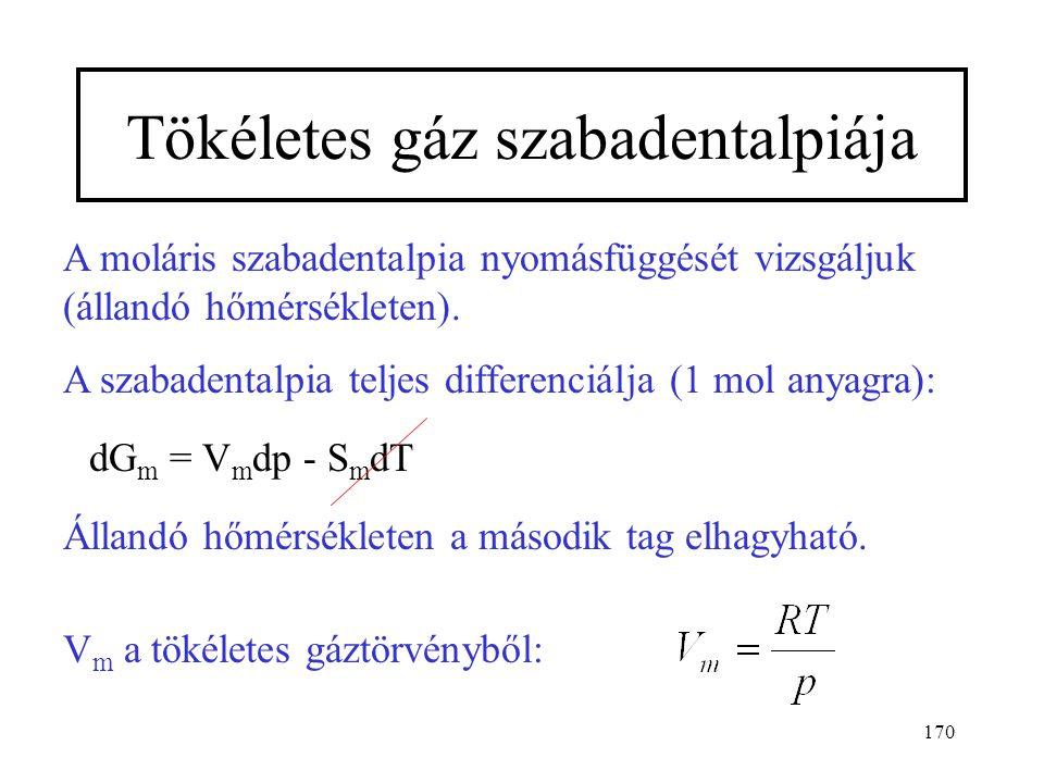 169 Az elemek és vegyületek standard szabadentalpiáit táblá- zatos formában adják meg (a hőmérséklet függvényében). Gyakran ilyen formában: Vagy: stan