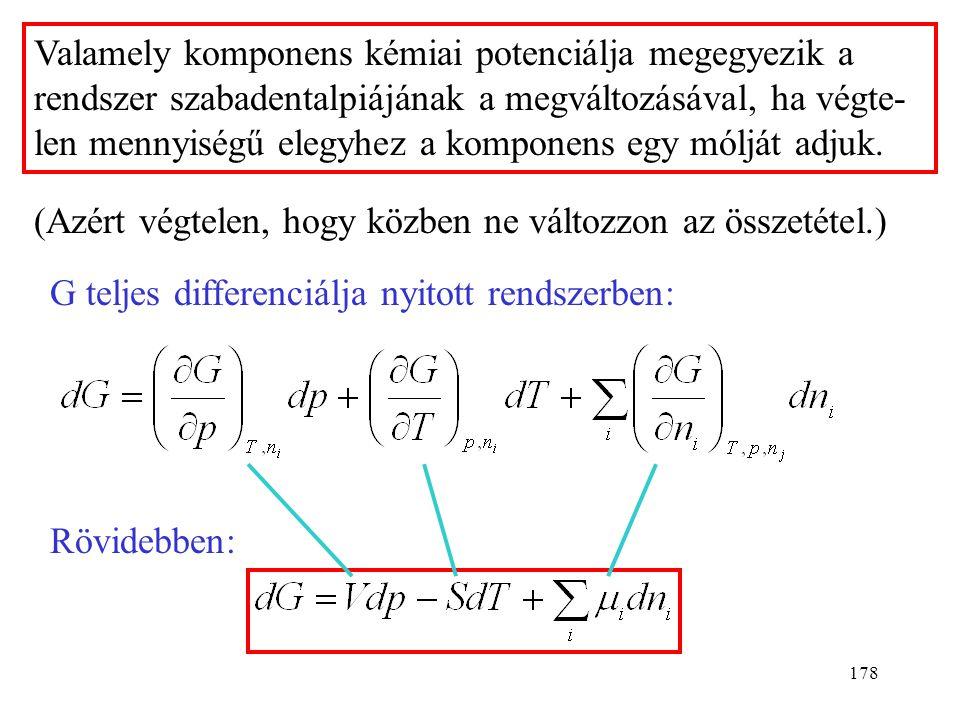 177 A  -nak annyi tagja van, ahány komponensű a rendszer. Pl. kétkomponensű rendszerben: Az anyagmennyiség szerinti deriváltakat kémiai potenciálokna