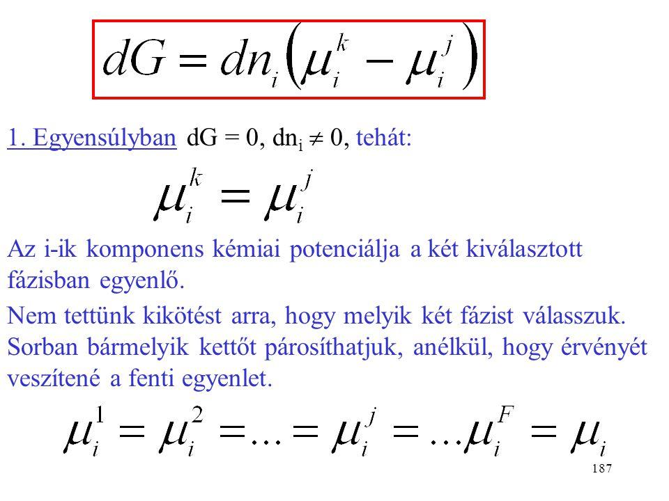 186 Tegyük fel, hogy állandó nyomáson és hőmérsékleten az i-ik komponensből dn i mol megy át a j-ik fázisból a k-ik fázisba. (A többi komponens mennyi