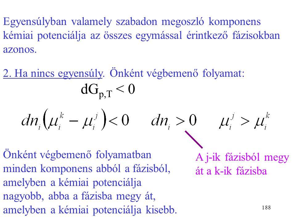 187 1. Egyensúlyban dG = 0, dn i  0, tehát: Az i-ik komponens kémiai potenciálja a két kiválasztott fázisban egyenlő. Nem tettünk kikötést arra, hogy