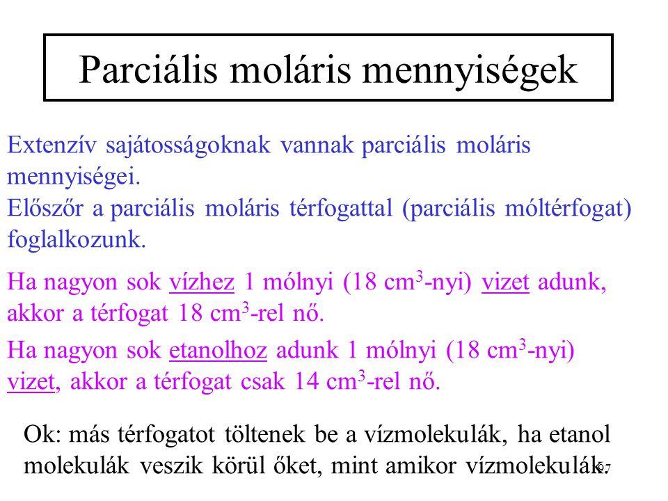 196 0 eGmeGm x 2  0 eGmeGm 0 eGmeGm 0 eGmeGm korlátlan elegyedés nincs elegyedés korlátozott elegyedés szételegye- dés A moláris elegyedési s