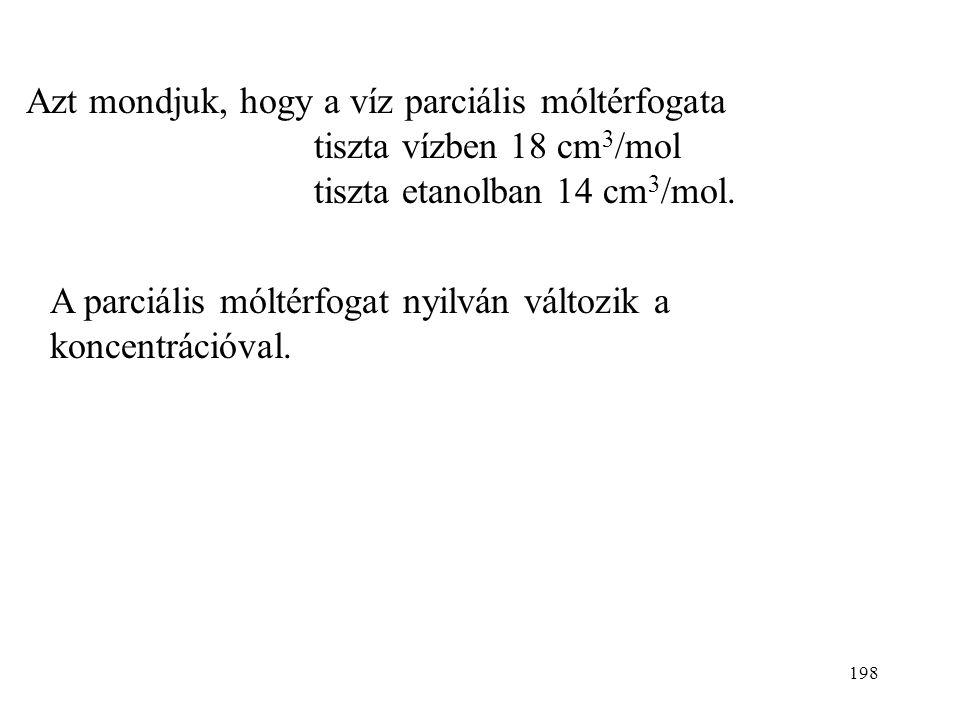 197 Parciális moláris mennyiségek Extenzív sajátosságoknak vannak parciális moláris mennyiségei. Előszőr a parciális moláris térfogattal (parciális mó