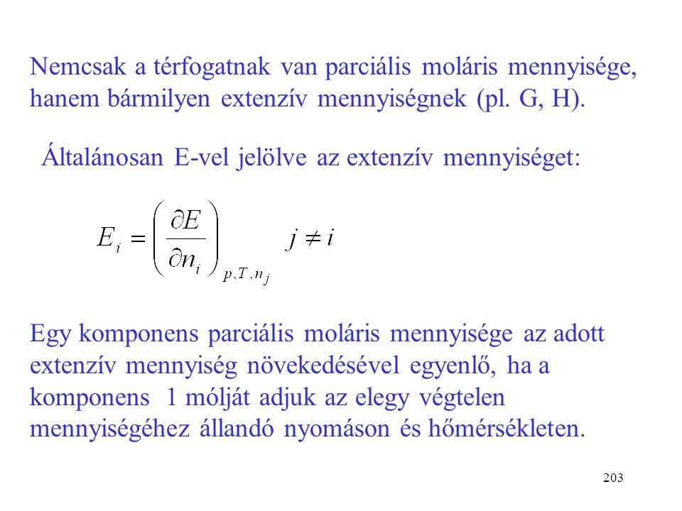 202 Az elegy térfogata additíve tevődik össze a parciális mól- térfogatokból (ez érvényes ideális és reális elegyekre is) Ideális elegyben: (Ideális e