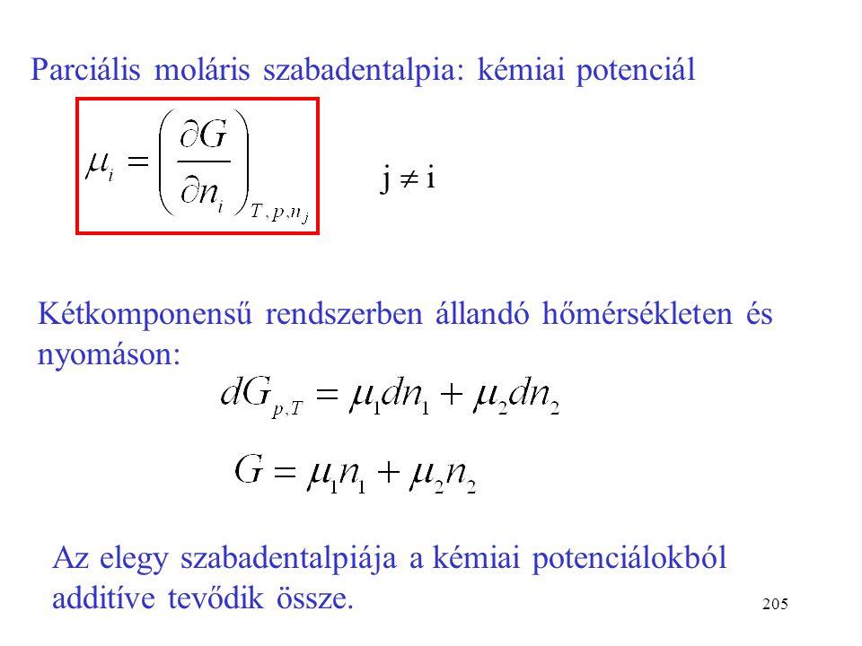 204 Kétkomponensű elegyben: E = E 1 n 1 +E 2 n 2 Az elegyek extenzív sajátsága additíve tevődik össze e sajátság parciális moláris mennyiségeiből. Töb
