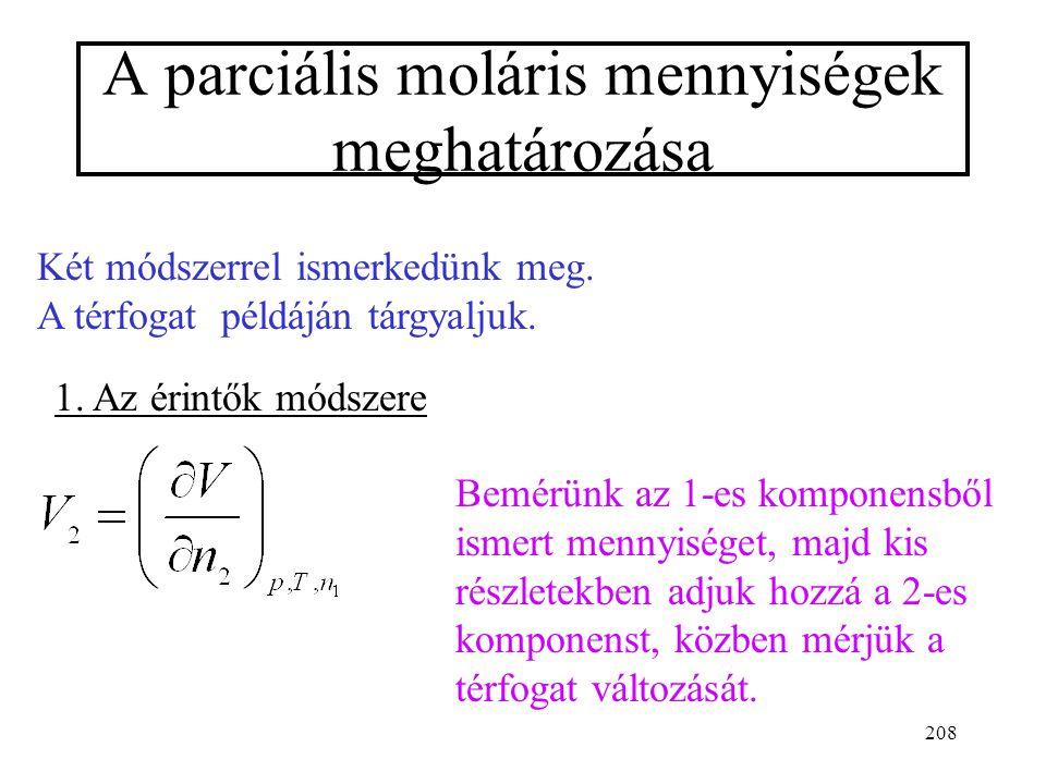 207 Eszerint a két komponens kémiai potenciálja nem független egymástól. (Ha ismerjük az egyiknek a változását az összetétel függvényében, kiszámíthat