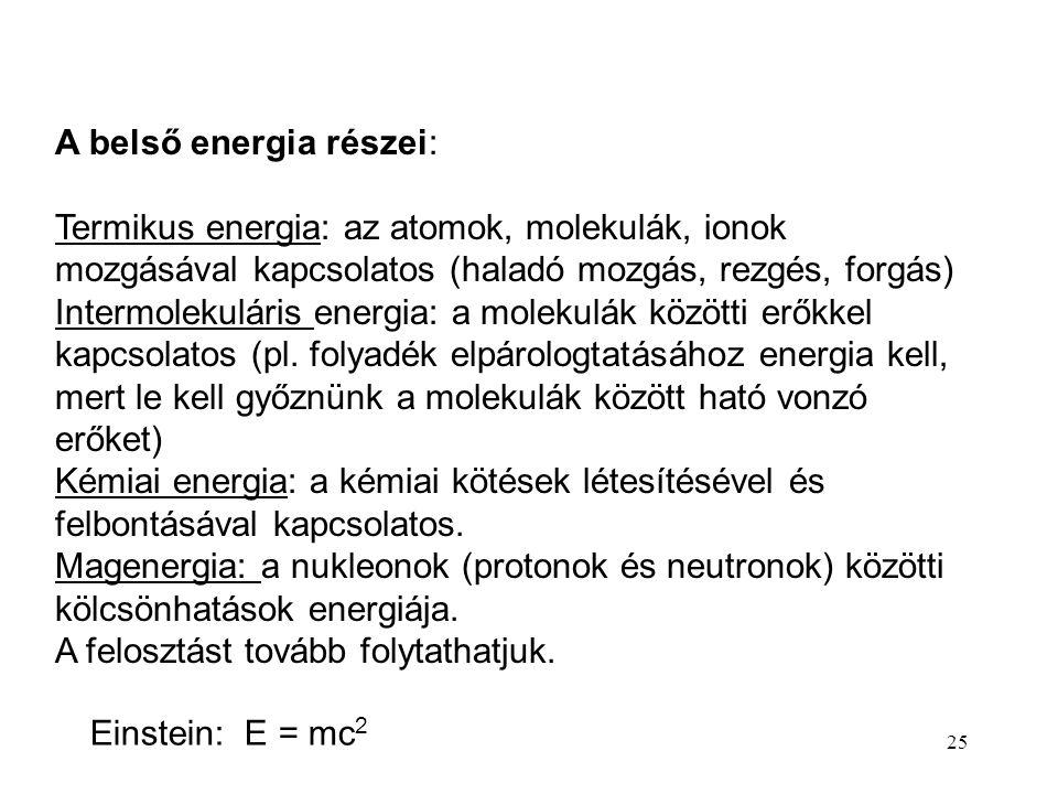 24 A belső energia, a termodinamika I főtétele E = E kin + E pot + U Belső energia U: a rendszert felépítő részecskék kinetikus és potenciális energiá