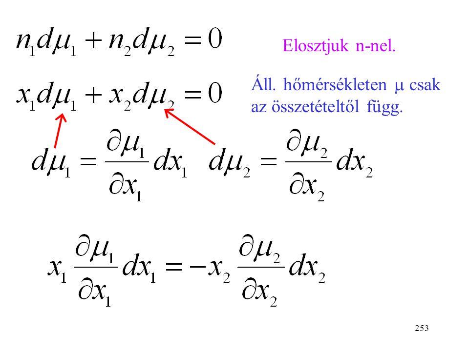 252 Konovalov 2. és 3. törvényének a levezetése 1. A Gibbs-Duham egyenletből indulunk ki. 2. A kémiai potenciálokat kifejezzük a gőznyomás segítségéve