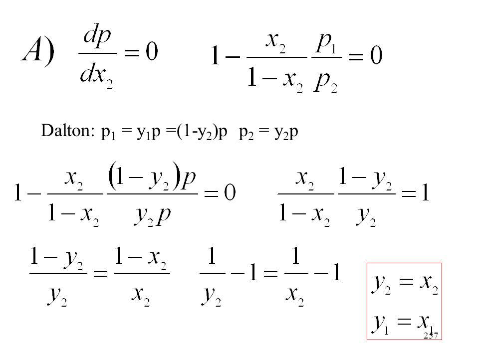 256 (A móltört növelésével nő a parciális nyomás.) Két esetet vizsgálunk: (Az össztenziónak szélső értéke van.) (A 2-es komponens növekvő mennyi- sége