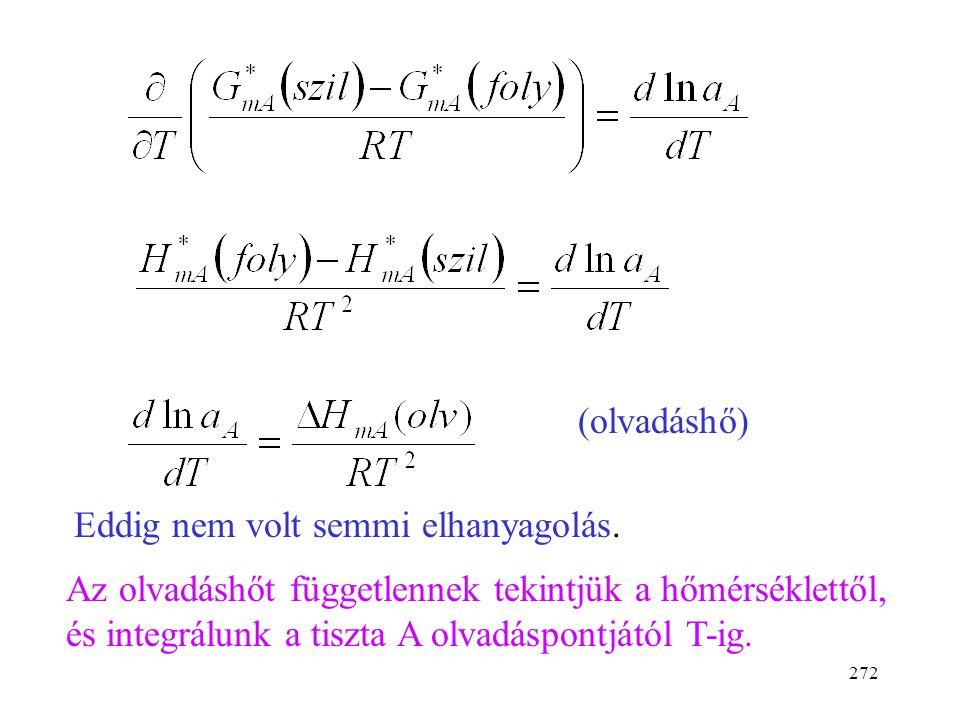 271 G = H - TS dG =Vdp -SdT Hányados deriváltja: (Gibbs-Helmholtz egyenlet)