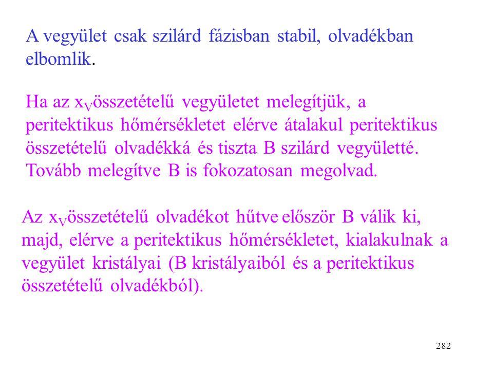 281 B) Inkongruens olvadás( = össze nem illő) V: addíciós vegyület P: peritektikus pont x B  01 AB T 0 (A) p = áll. T T 0 (B) xVxV oldat A+o o+V V+B